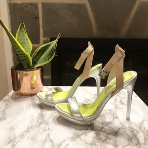 BCBG | Finite Silver Sandal with Neon Sole